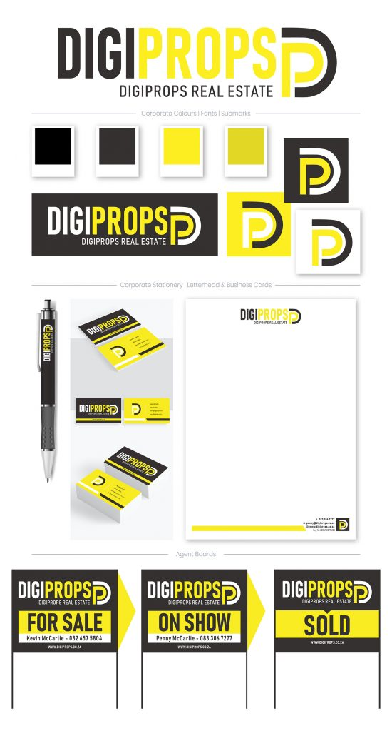 Brand board showcasing the Digiprops logo, corporate colours, icon, sub-mark, business card, letterhead and agent boards designed by The Marketing Designer & Co